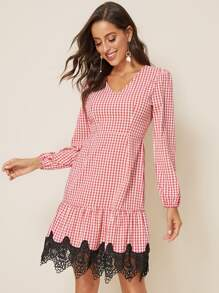 Contrast Lace Hem Gingham Dress