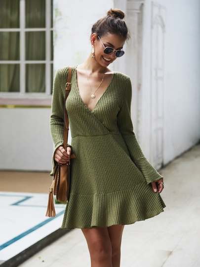 Deep V-neck Ruffle Hem Sweater Dress