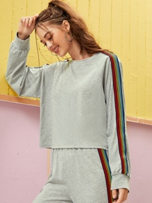 Contrast Tape Raglan Sleeve Sweatshirt Without Bag