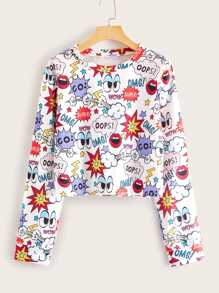 Graffiti Print Long Sleeve Tee