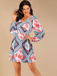 Scarf Print Bishop Sleeve V-neck Dress