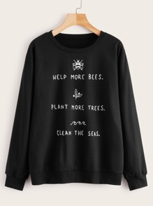 Slogan & Cartoon Print Drop Shoulder Sweatshirt