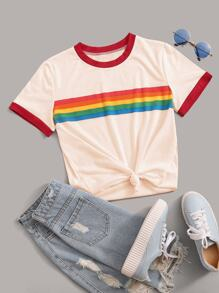 Contrast Binding Colorful Striped Tee
