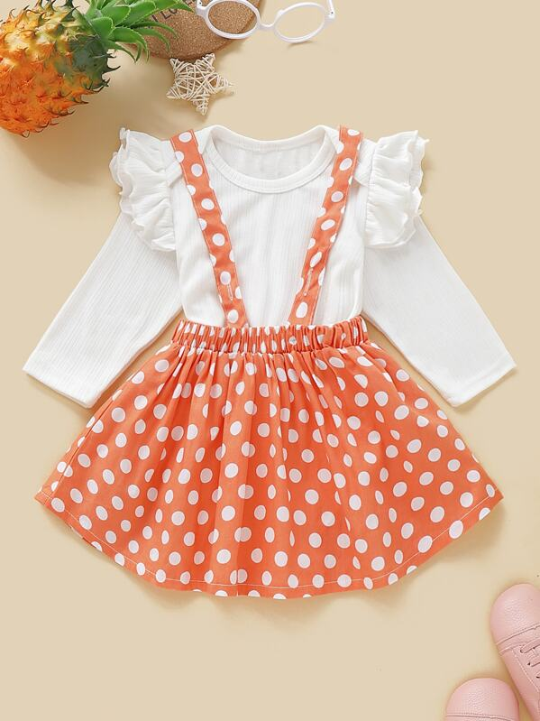 956e95cace Baby Girl Ruffle Trim Romper With Polka Dot Pinafore Skirt