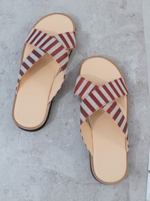 Striped Cross Strap Flat Sliders