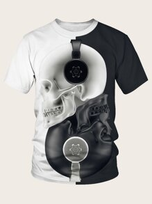 Men Halloween Two Tone Skull Print Tee