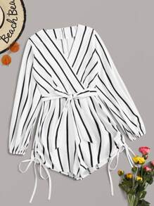 Striped Drawstring Hem Belted Romper