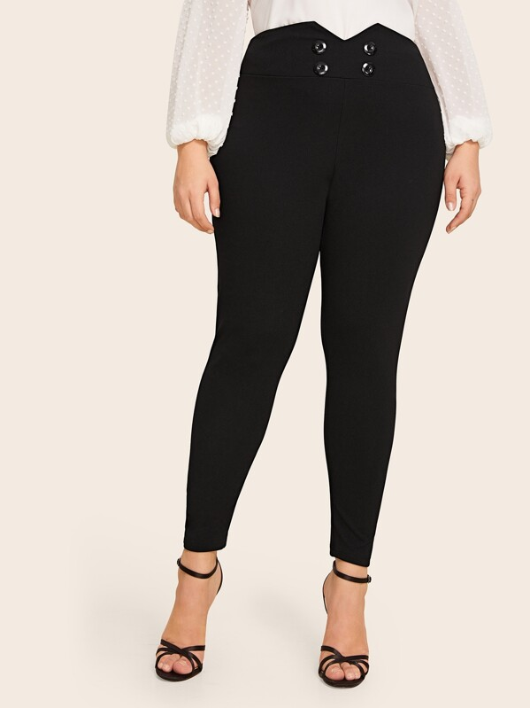 Shein Plus Buttoned Notched Waistband Fitted Pants by Sheinside