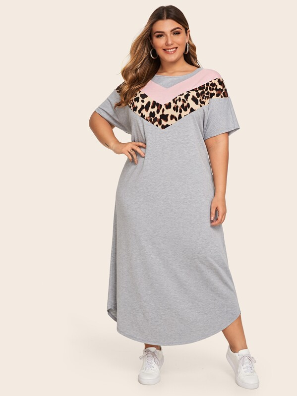 Plus Leopard Chevron Panel Tee Dress