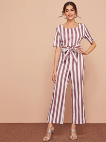 Striped Self Tie Waist Jumpsuit