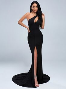 Missord One Shoulder Split Thigh Cut-out Floor Length Dress