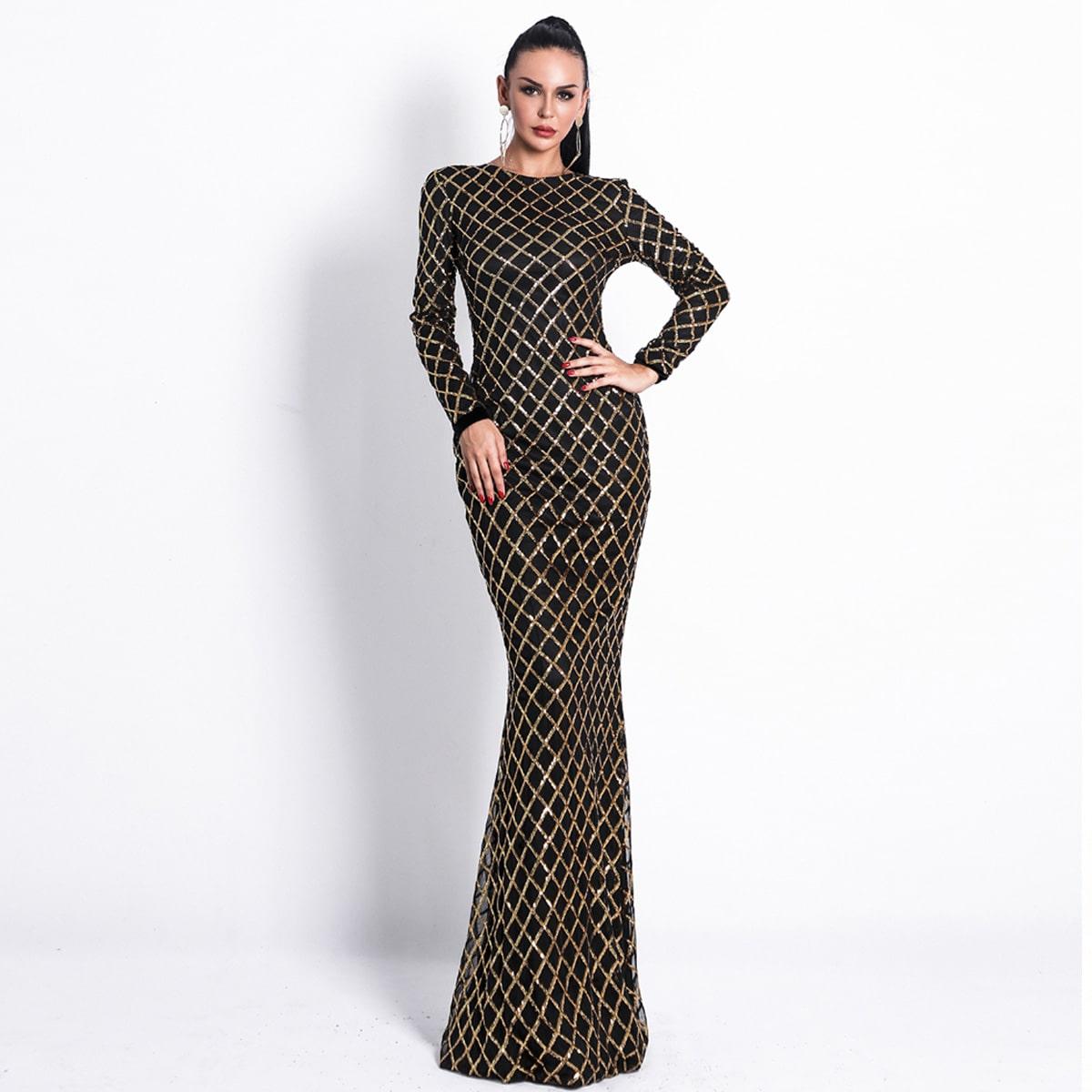 длинное платье-русалка с блестками