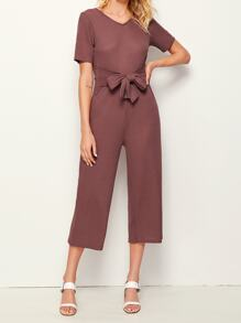 V-neck Tie Front Solid Jumpsuit
