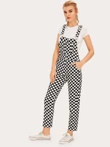 Checker Print Pocket Side Pinafore Jumpsuit