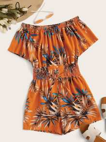 Plants Print Lace Up Shirred Romper