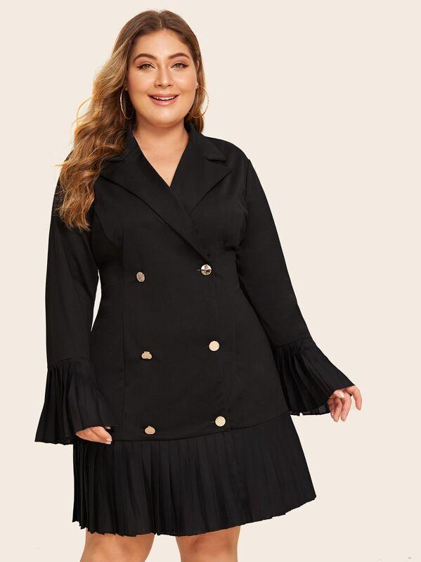 venta caliente online 3ebc5 34083 Vestido blazer bajo fruncido con botones - grande