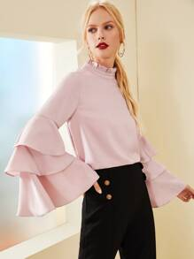 Frill Neck Layered Sleeve Blouse