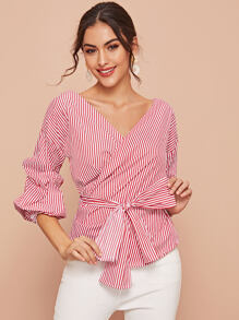 Ruched Sleeve Stripe Belted Blouse