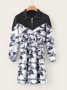 Half Zip Contrast Camo Print Sweat Dress