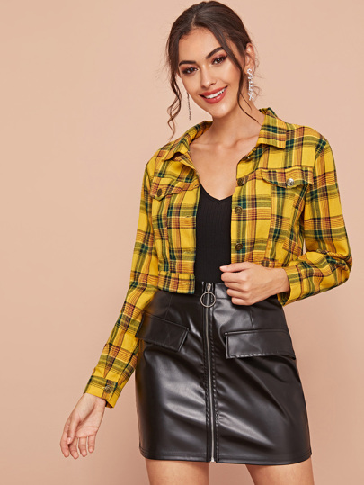 Pocket Side Tartan Plaid Crop Jacket