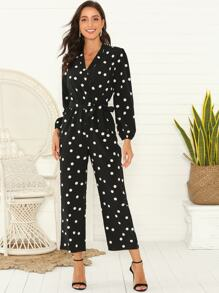 Polka Dot Surplice Belted Jumpsuit