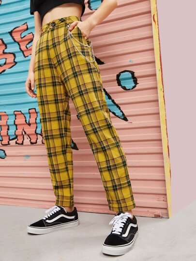 Chain Detail Tartan Plaid Straight Pants