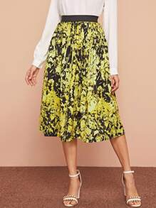 Elastic Waist Allover Printed Skirt