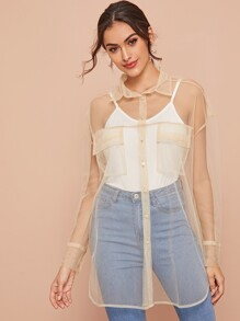 Pocket Side Curved Hem Sheer Mesh Blouse