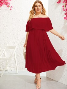 Plus Ruffle Trim Pleated Bardot Dress