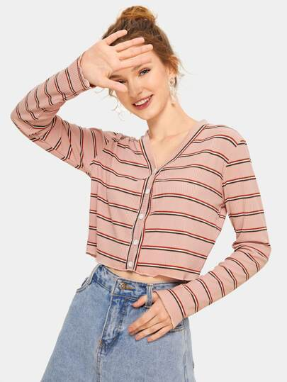 Button Through Stripe Rib-knit Tee