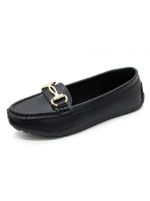 Metal Decor Flat Loafers