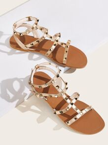 Studded Decor Open Toe Sandals