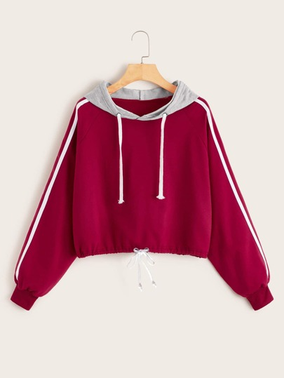 Raglan Sleeve Drawtring Contrast Hooded Sweatshirt