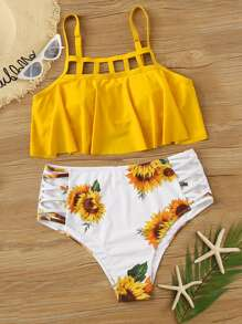 Plus Ladder Cut-out Top With Sunflower Print Bikini Set