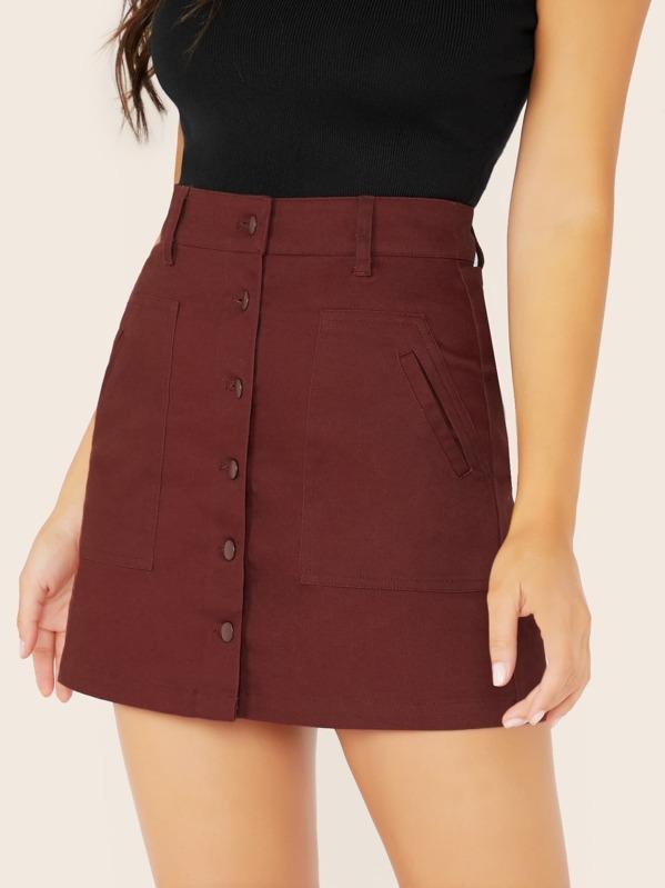 Slant Pockets Button Front Mini Skirt