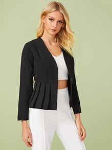 Solid Single Button Pleated Hem Jacket