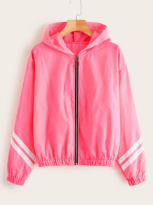 Varsity Striped Zip-up Windbreaker Jacket