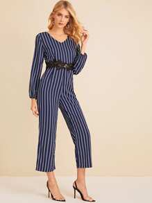 Contrast Lace Vertical Striped Jumpsuit