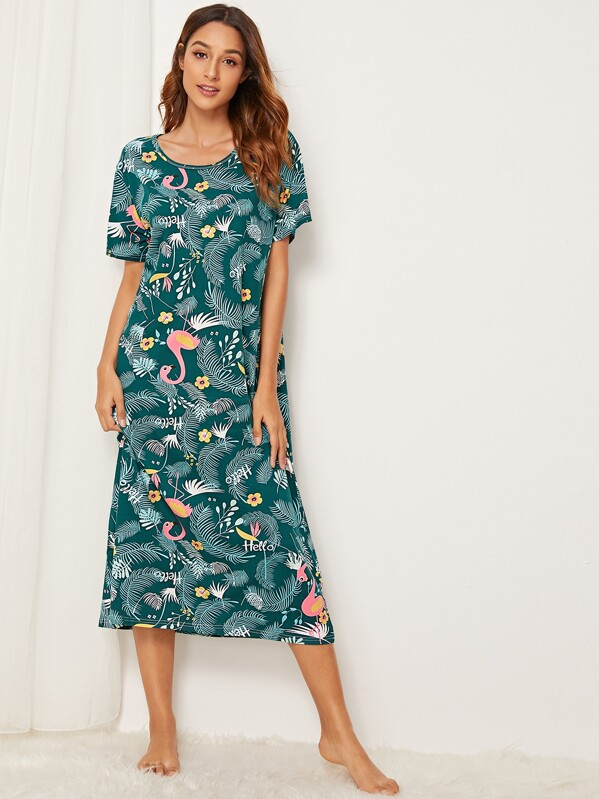 1b1bcf3f99f5b Flamingo & Tropical Print Night Dress