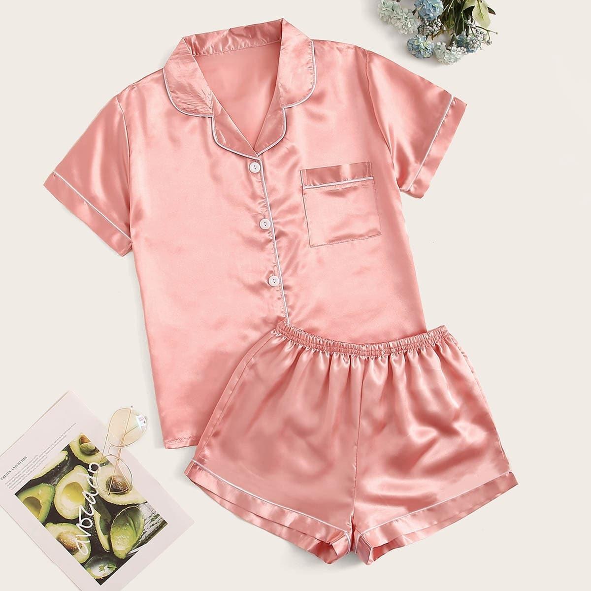 Однотонная Розовая Атласная Пижама Топ И Шорты