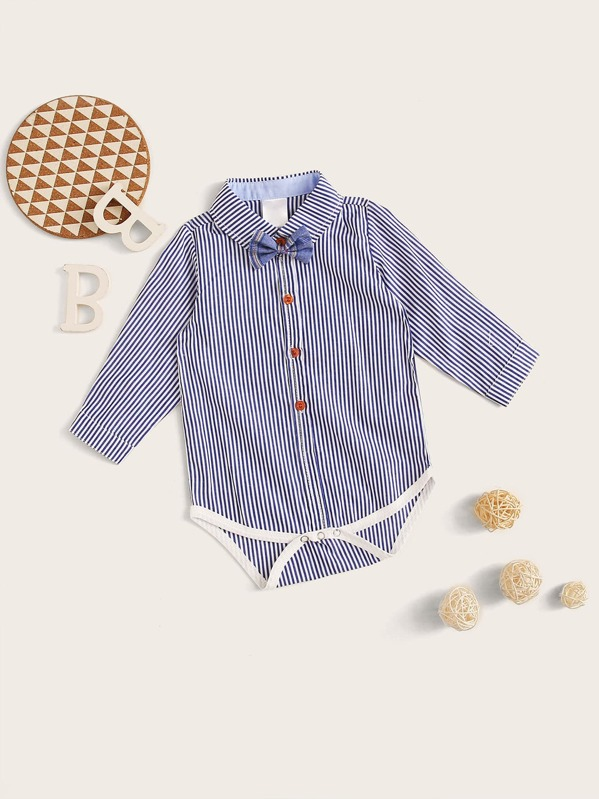 0d0f3d7686 Baby Boy Bow Tie Button Front Striped Shirt Romper