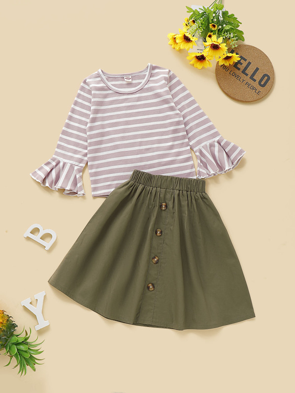 a06a61a68 Toddler Girls Striped Flounce Sleeve Tee With Button Front Skirt