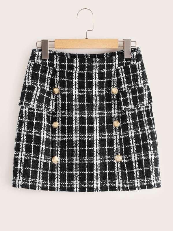 d837658ea8861f Jupe en tweed à carreaux avec double rangée de boutons