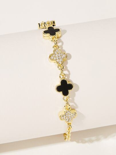 Rhinestone Engraved Clover Decor Chain Bracelet 1pc