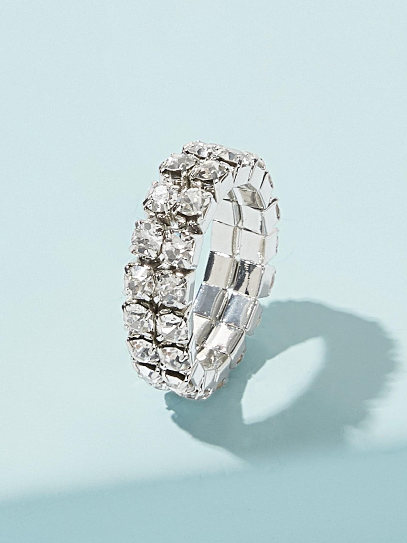 Double Layered Rhinestone Decor Ring 1pc thumbnail