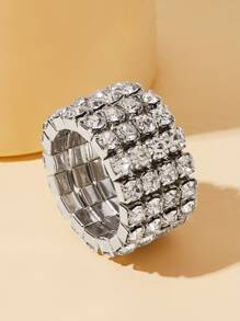 Wide Rhinestone Engraved Ring 1pc