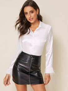 Contrast Fringe Cuff Satin Blouse
