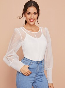 Tie Back Puff Sleeve Sheer Blouse