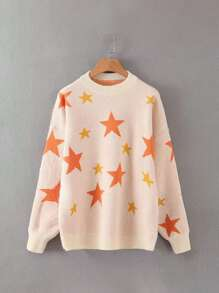 Stars Print Dropped Shoulder Sweater