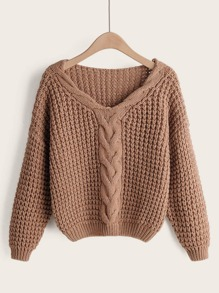 V-neck Twist Cable Knitted Sweater